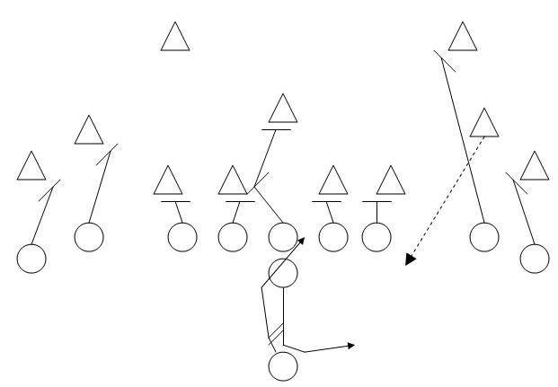 Inside Zone Rushing: Ellington scores on a 60 Yard Scamper