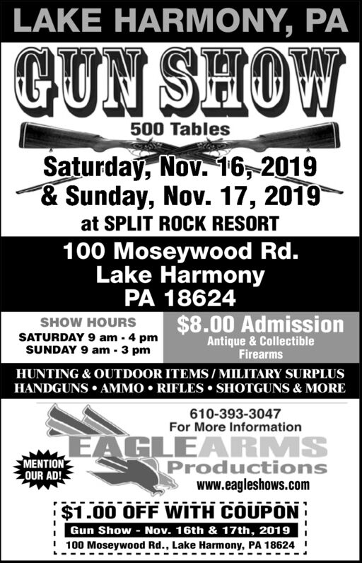 610 Outdoor Show : outdoor, MONDAY,, NOVEMBER, Eagle, Productions, Standard-Speaker