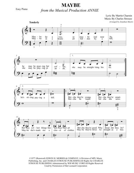Maybe Annie Sheet Music : maybe, annie, sheet, music, Charles, Strouse, Voice, Sheet, Music, Books, Scores, Online).