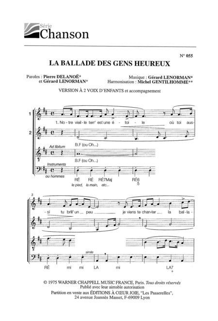 Telecharger La Ballade Des Gens Heureux Instrumental Gratuit : telecharger, ballade, heureux, instrumental, gratuit, Partitions, Ballade, Heureux, (SATB, Cappella)