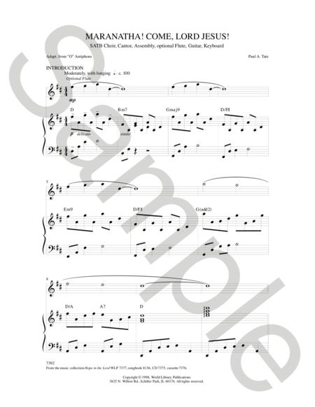Sheet music: Maranatha Come, Lord Jesus (SATB)