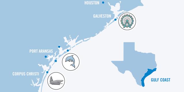 Texas Road Trip Gulf Map