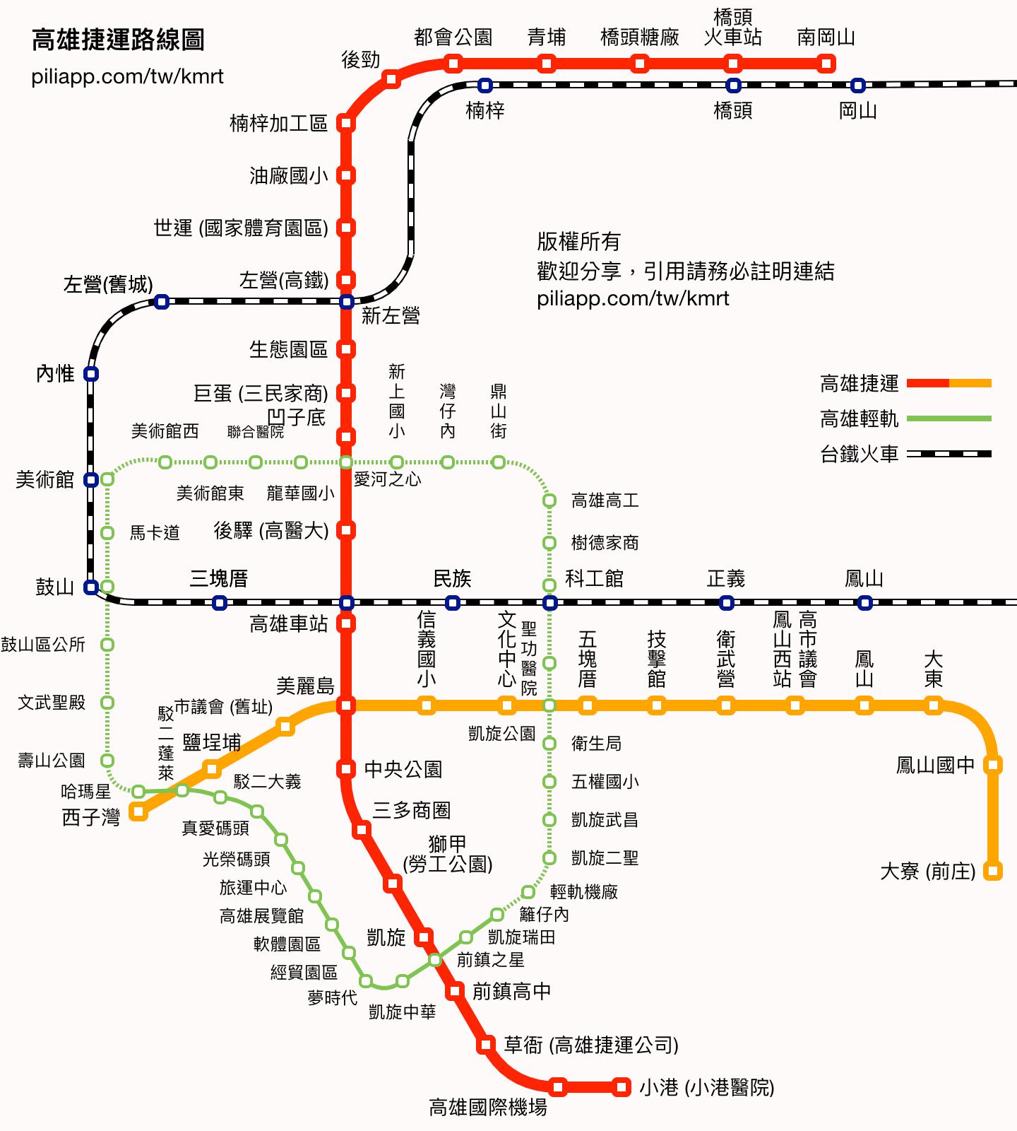 高雄捷運路線圖 - 票價和行車時間