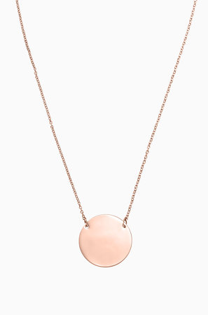 Signature Engravable Disc Necklace - Rose Gold
