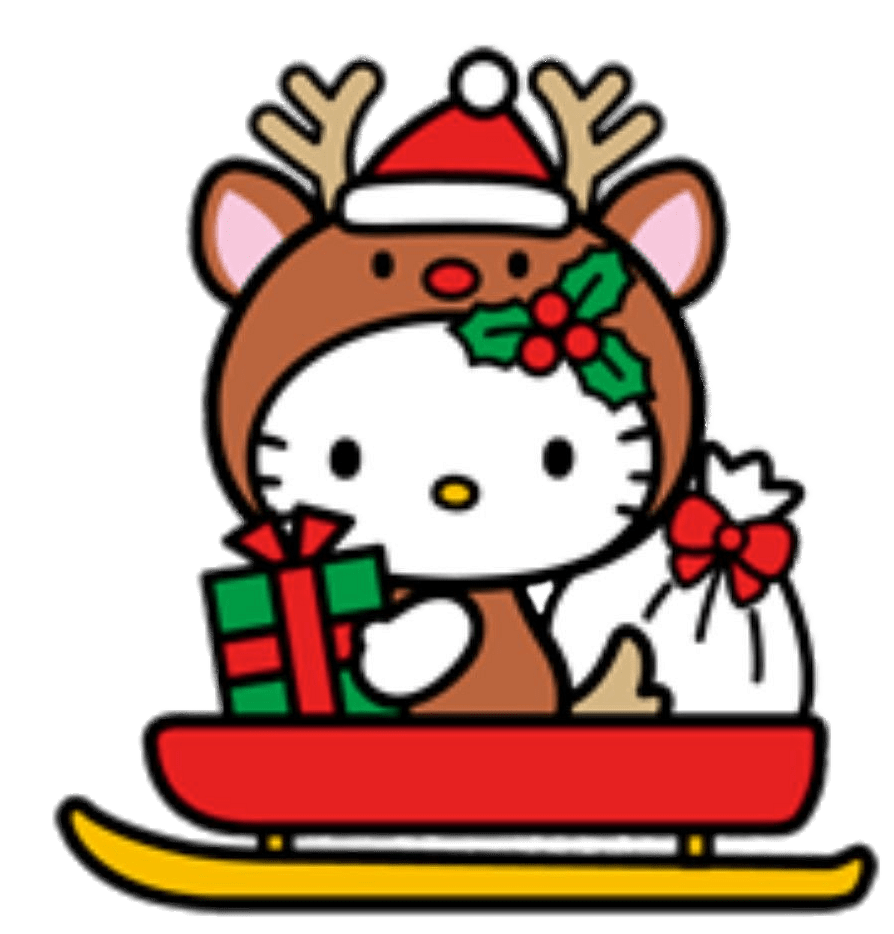 Hello Kitty Christmas Reindeer Transparent Png Stickpng