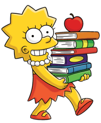 Lisa Simpson with a Pile of Books transparent PNG StickPNG