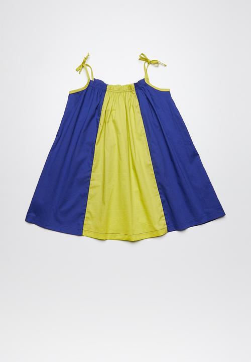 colourblock smock dress blue