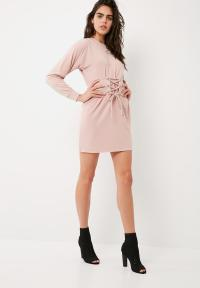 Corset belt sweat dress - pink Missguided Casual ...