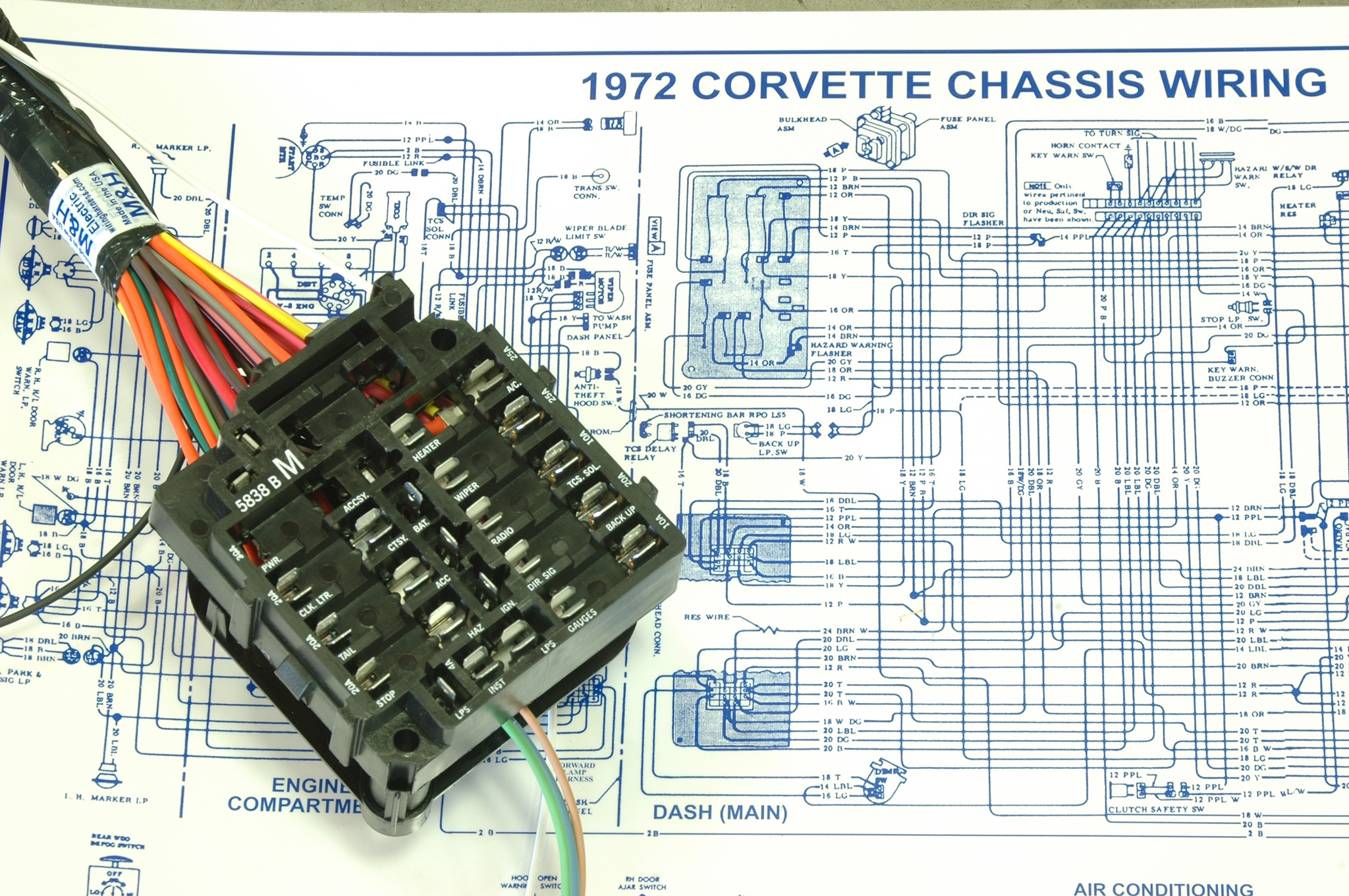 hight resolution of 1972 corvette scarlett project car dash wiring harness installation 72 chevelle wiring diagram 1972 corvette dash
