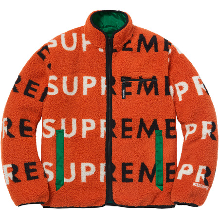 Reversible Logo Fleece Jacket (Orange)