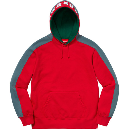 Paneled Hooded Sweatshirt (Red)