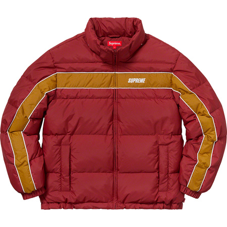Stripe Panel Down Jacket (Burgundy)