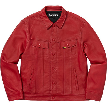 Leather Trucker Jacket (Red)