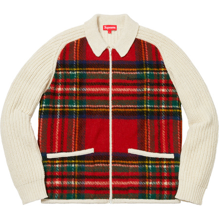 Plaid Front Zip Sweater (Off-White)