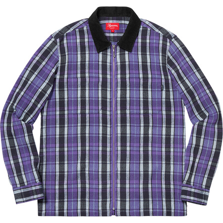 Plaid Thermal Zip Up Shirt (Purple)