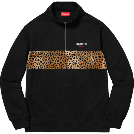 Leopard Panel Half Zip Sweatshirt (Black)