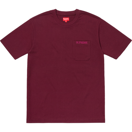 Embroidered Pocket Tee (Burgundy)