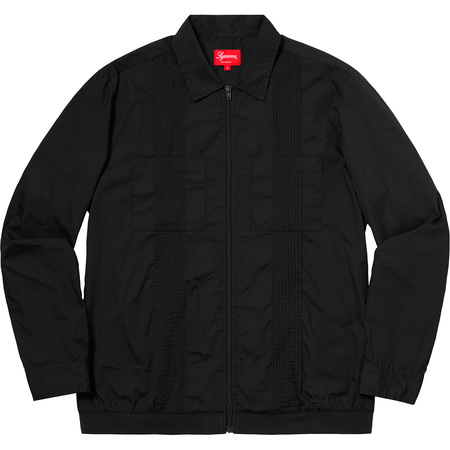 Pin Tuck Zip Up Shirt (Black)