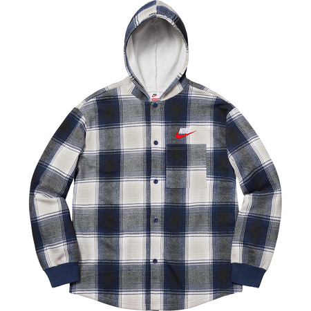 Supreme®/Nike® Plaid Hooded Sweatshirt (Navy)