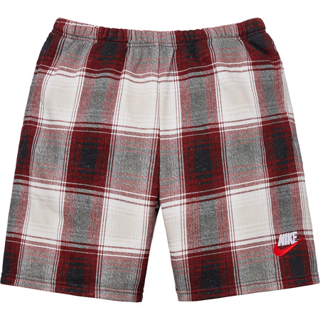 Supreme®/Nike® Plaid Sweatshort (Burgundy)