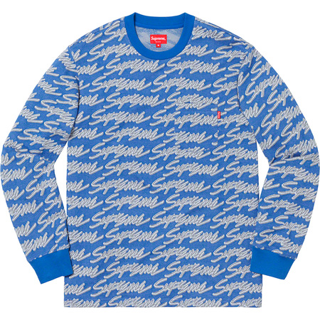 Signature Script Logo L/S Pocket Tee (Royal)