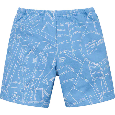 Gonz Embroidered Map Sweatshort (Columbia Blue)