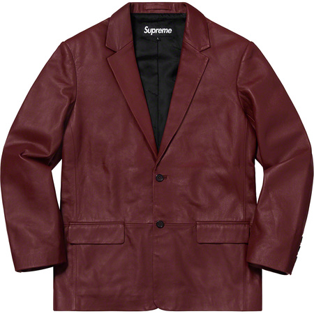 Leather Blazer (Burgundy)