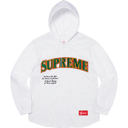 Mesh Hooded L/S Baseball Jersey (White)