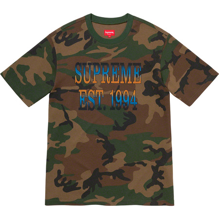 Cotton Mesh Gradient Logo S/S Top (Woodland Camo)