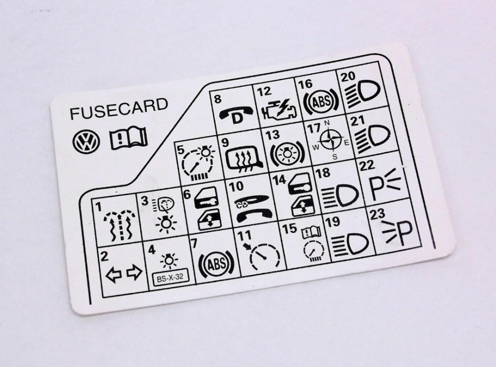 medium resolution of fuse panel diagram key card 98 05 vw passat b5 genuine 3b0 010 241 f