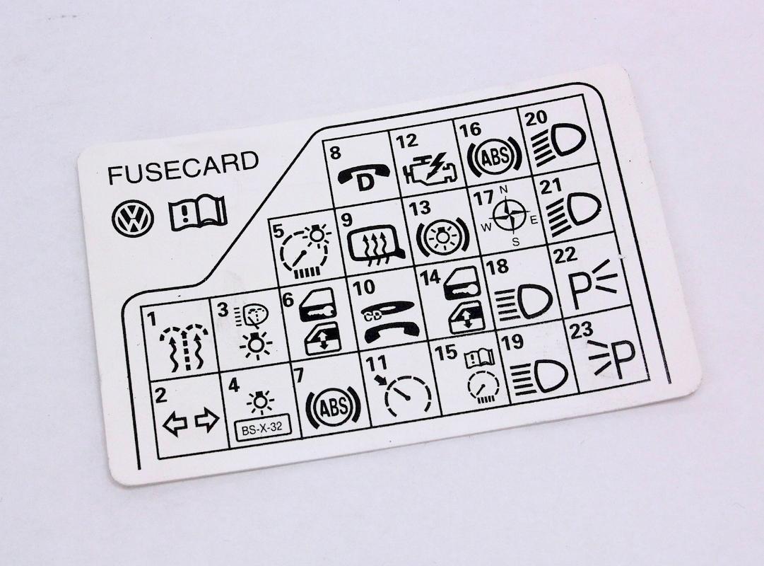 hight resolution of fuse panel diagram key card 98 05 vw passat b5 genuine 3b0 010 241 f