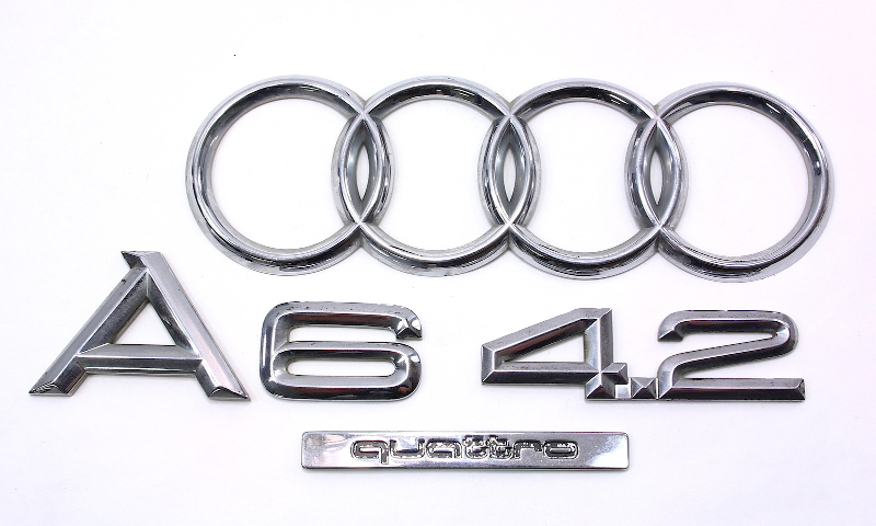 Rear Trunk Emblems Badges 00-04 Audi A6 4.2 V8 Quattro