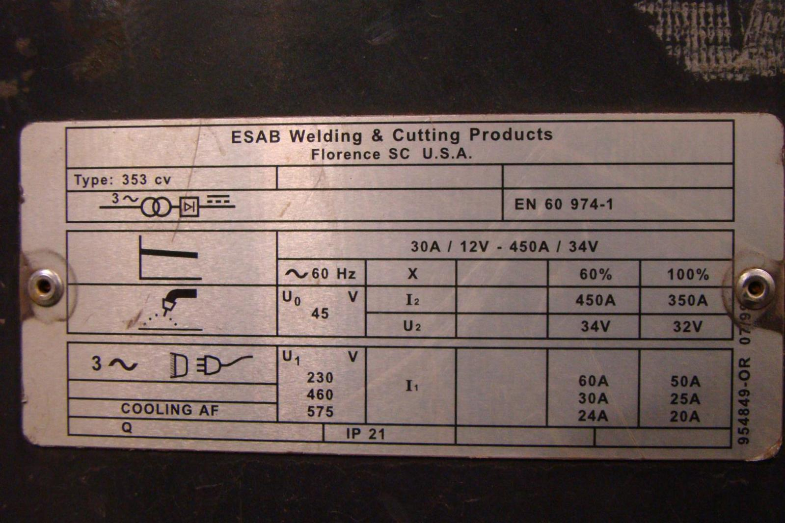 460 volt 3 phase wiring diagram motte and bailey castle labeled esab 230 353 cv mig welder with 4hd