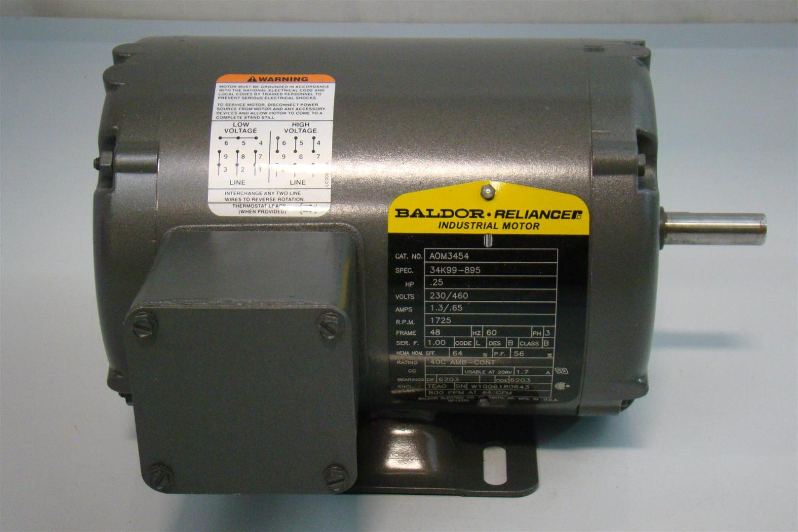 baldor motor connection diagram sears lt1000 wiring reliance industrial 25hp 1 3 65amps 1725rpm