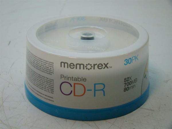 6 30pk Memorex Prinable Cd- 52x 700mb 80min 32020015437