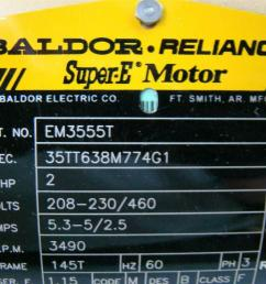 agh169 baldor reliance super e motor 2hp 208 230 460v 53 5 25amps baldor reliance motor wiring diagram  [ 1421 x 1066 Pixel ]