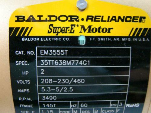 small resolution of agh169 baldor reliance super e motor 2hp 208 230 460v 53 5 25amps baldor reliance motor wiring diagram