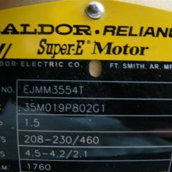 Baldor Reliance Super E Motor Wiring Diagram New Era Relay For Spotlights Industrial 75hp 220 Single
