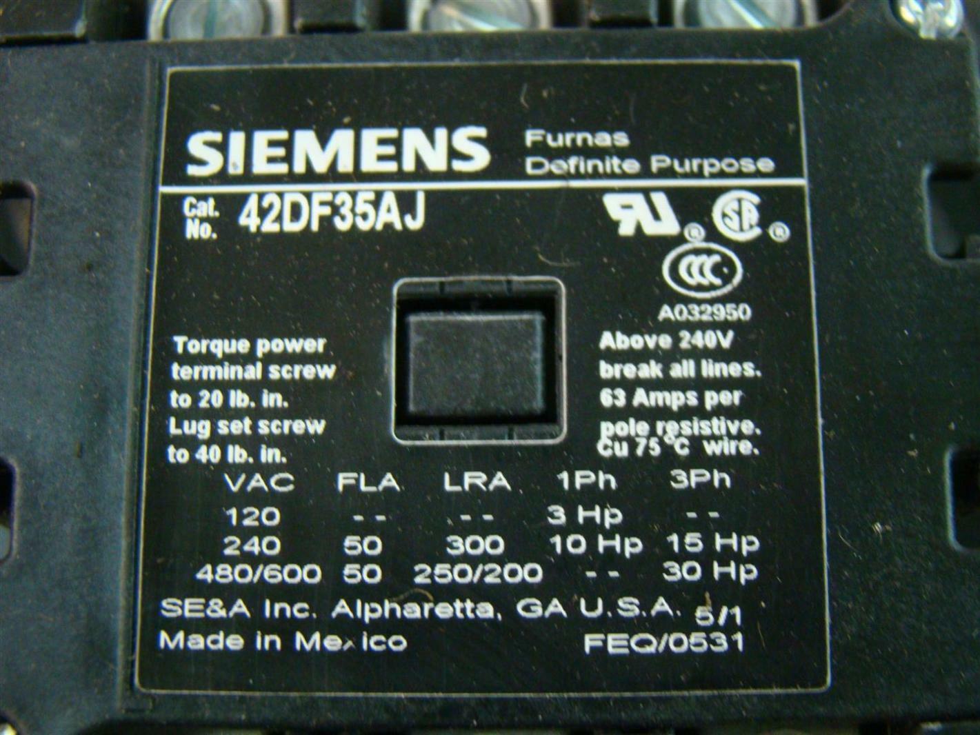 2 pole definite purpose contactor wiring diagram motor u v w siemens furnas 42df35aj 50a 3