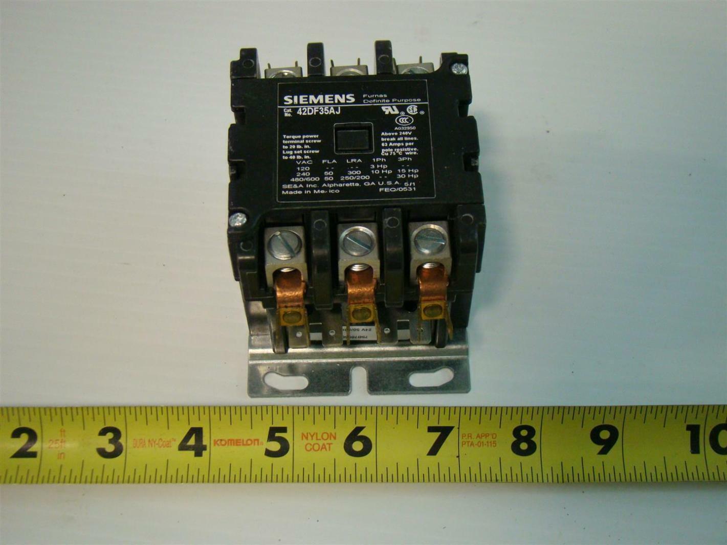 2 pole definite purpose contactor wiring diagram ezgo key switch siemens furnas 42df35aj 50a 3