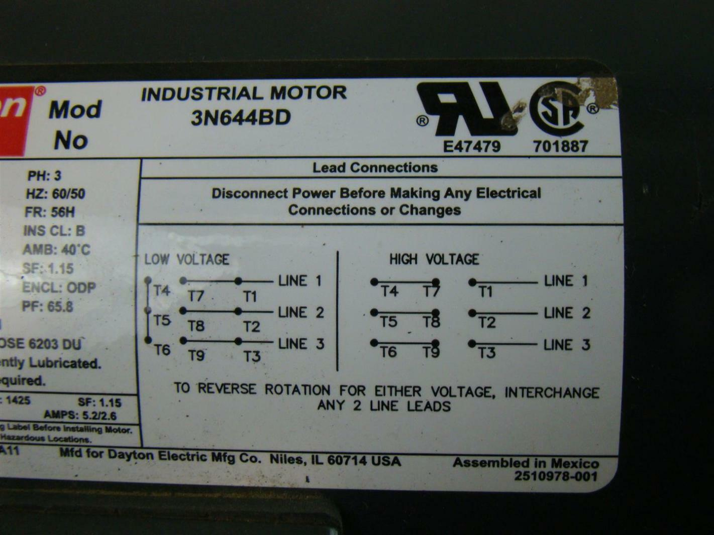 3 phase ups wiring diagram circuit precipitation water cycle dayton industrial motor 1-1/2 hp ph3 208-230/460v 5.4-5.6/2.8amps 3n644bd | ebay