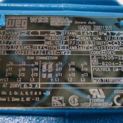 Weg W22 Motor Wiring Diagram 2000 Mitsubishi Galant Radio Premium 2hp 230 460v 1725rpm 00218et3e145t