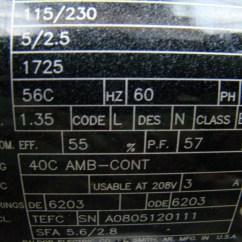 Baldor Single Phase 230v Motor Wiring Diagram Cat5 Home Network 1 4 Hp Industrial 115 56c
