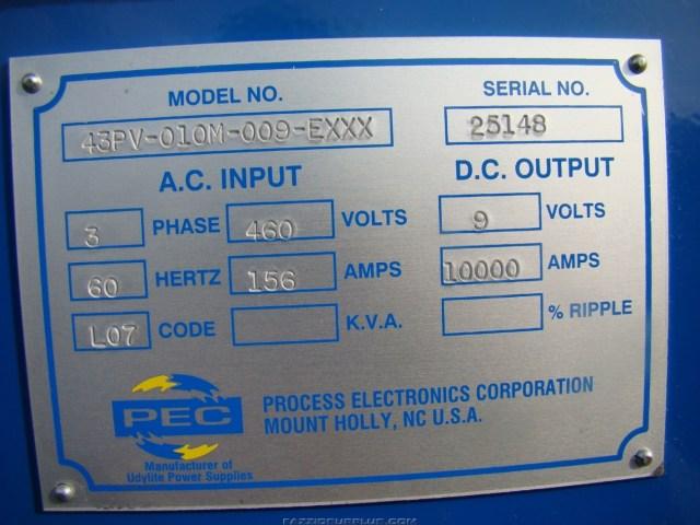 PEC, SASSC 10,000AMP 9V DC Rectifier, 00FL-010M-009-EXXX | Joseph ...