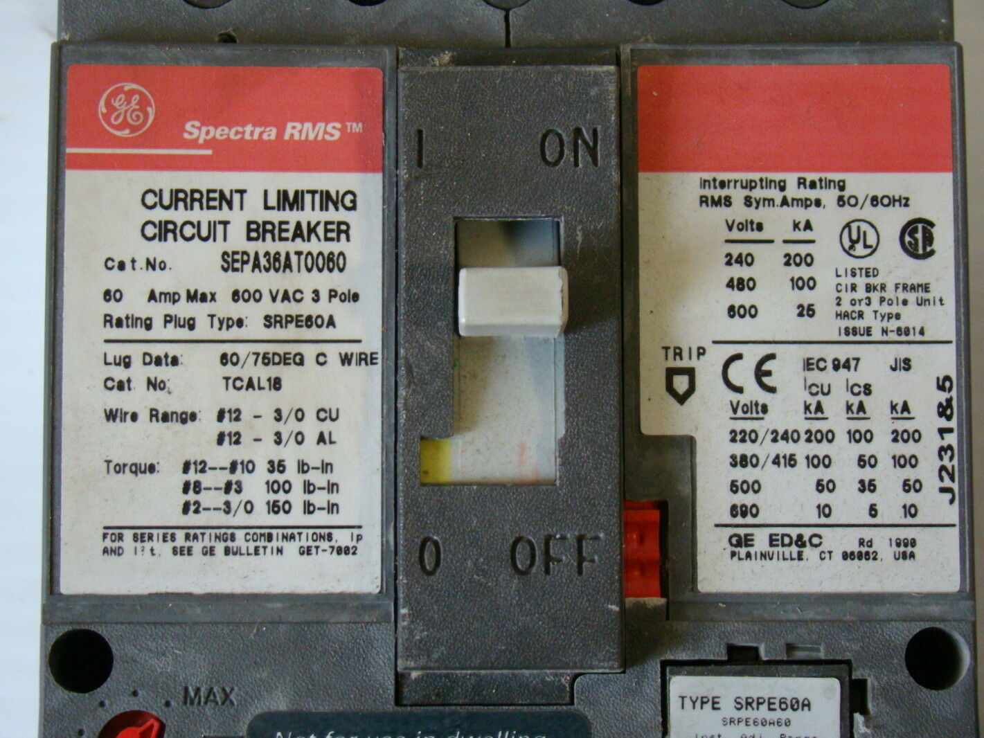 New Square D If360g0g Current Limiting Circuit Breaker 60a Electrical