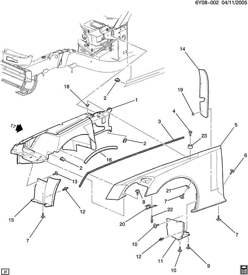 Cadillac XLR Front Fender Rear Insulator Foam (LH & RH