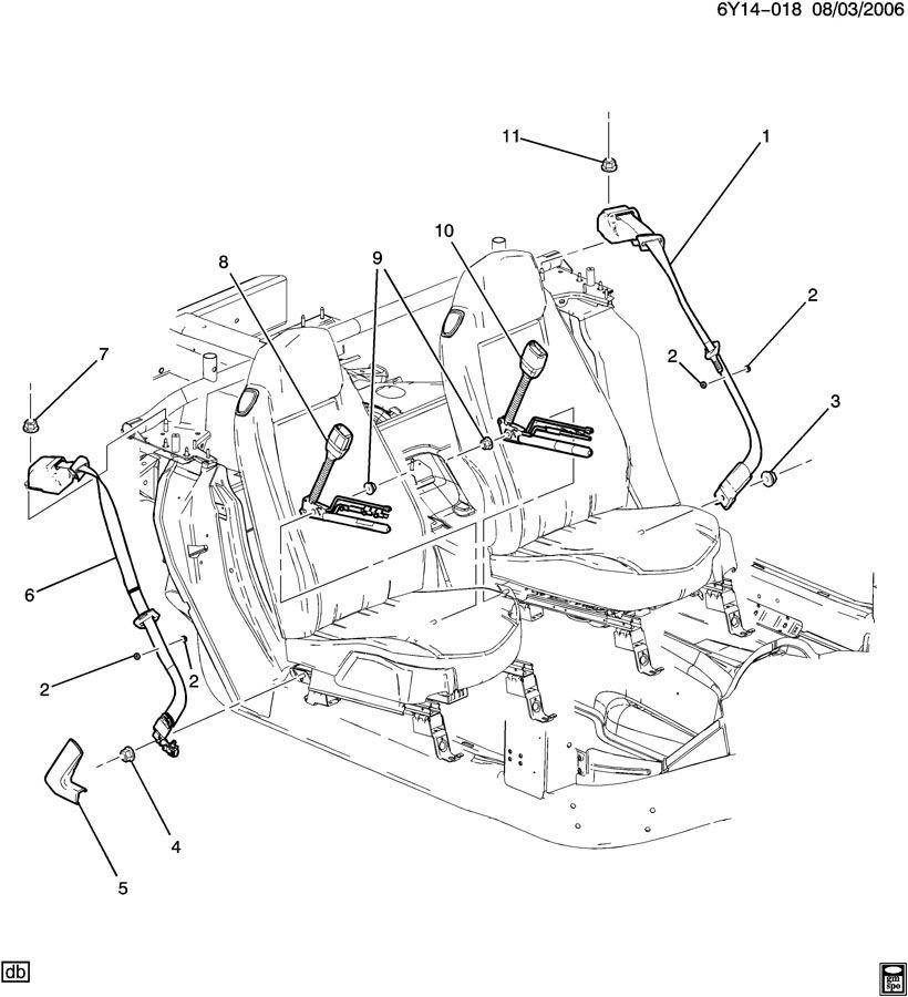 2004-2009 Cadillac XLR US & European Model Seat Belt Left