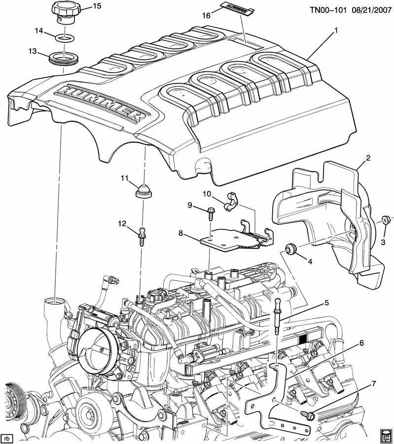 08-10 GENUINE HUMMER H3 ALPHA 5.3L V8 ENGINE COVER