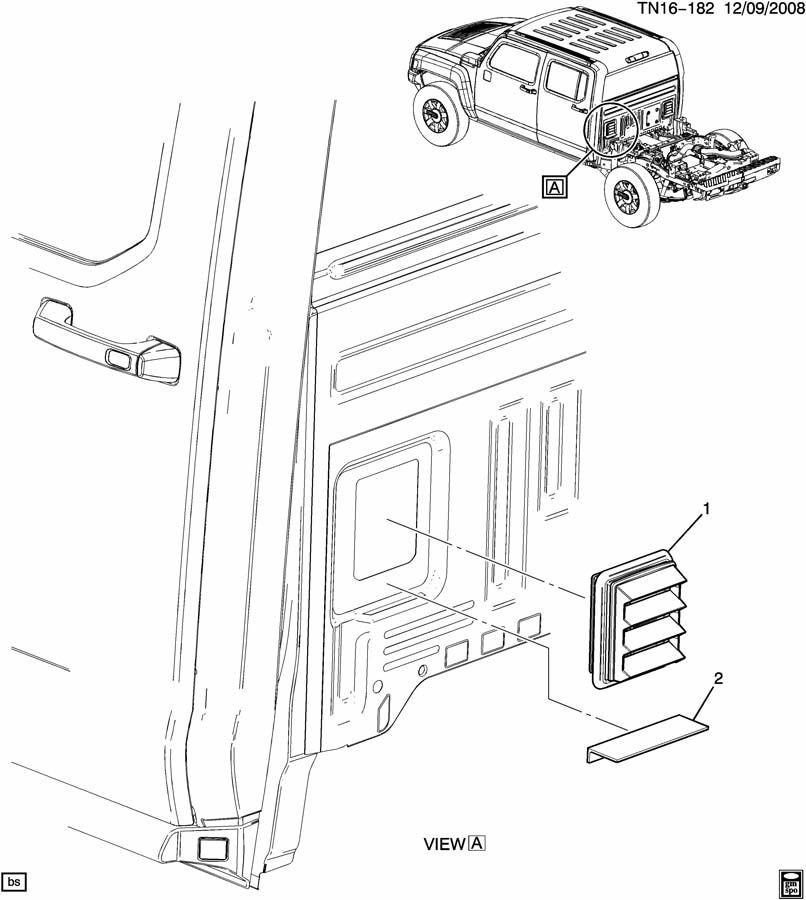 2006-2010 Hummer H3 Rear Vent Cab Pressure Relief