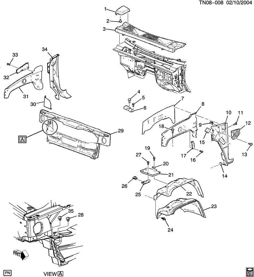 03-09 Hummer H2 Hood & Grille Gusset Assembly 15261540